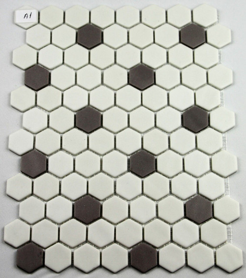 Bella Glass Tiles Hearth Palace Hexagon Dark Gray and White HP1HBP2