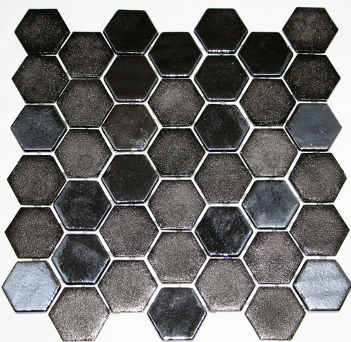 Bella Glass Tiles Hearth Palace Hexagon Stone Glass Opale Black HP2HSGOB