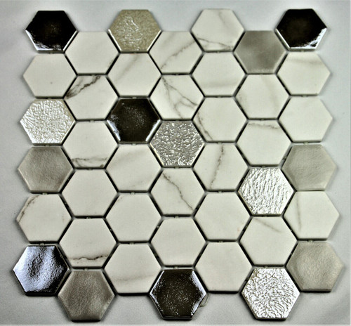 Bella Glass Tiles Hearth Palace Hexagon Fossil HP2HF