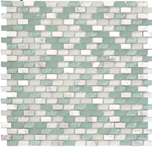 My Tile Backsplash Bello Series Aqua Mini Brick Mosaic MTB103