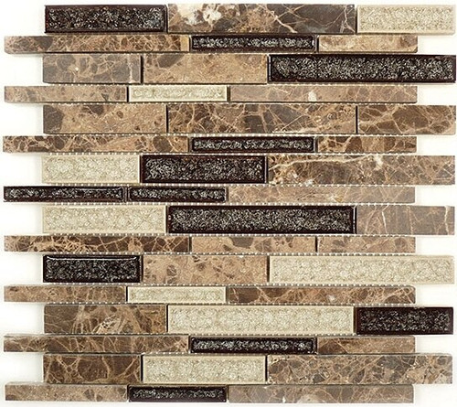 Bella Glass Tiles Tranquil Random Brick Series Mocha Canyon