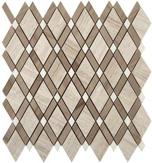 Bella Glass Tiles Diamond Series Wooden White or Athen Gray or Thassos White