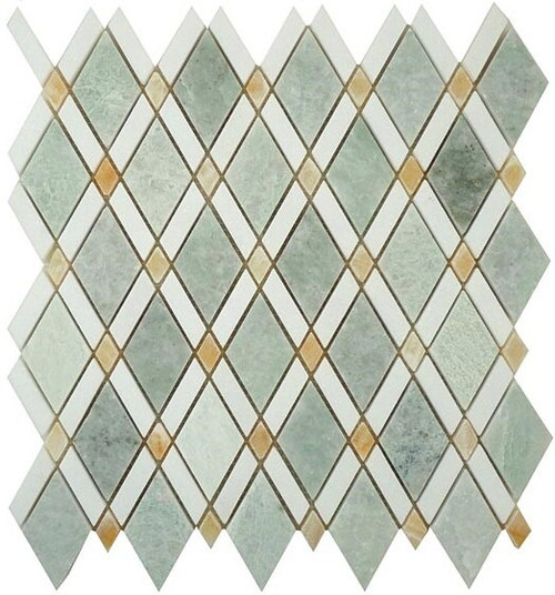 Bella Glass Tiles Diamond Series Ming Green or Thassos White or Honey Onyx