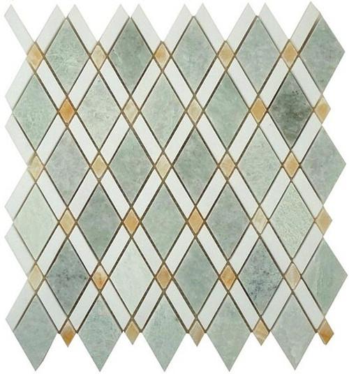 Bella Glass Tiles Diamond Series Ming Green or Thassos White or Honey Onyx