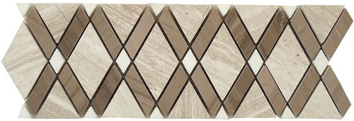 Bella Glass Tiles Diamond Series Listello Wooden White or Athen Gray or Thassos White