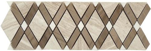 Bella Glass Tiles Diamond Series Listello Wooden White or Athen Gray or Thassos White