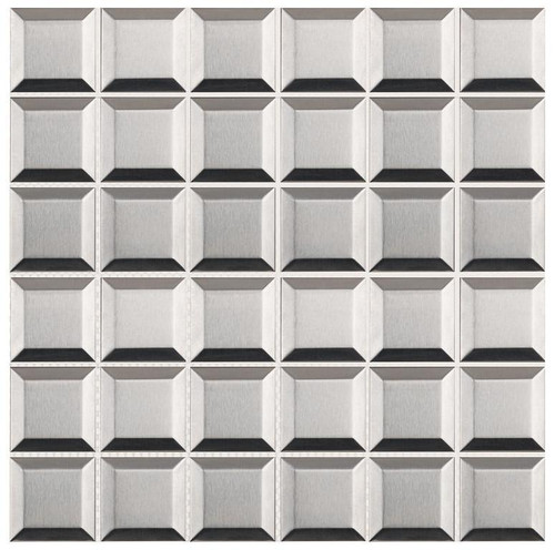 UBC Stainless Steel Tile Backsplash 2 x 2 Beveled Mosaic
