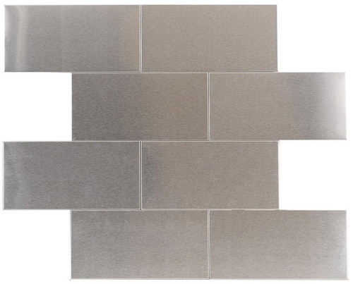 UBC Stainless Steel Tile Backsplash 3 x 6 Mosaic 411-007