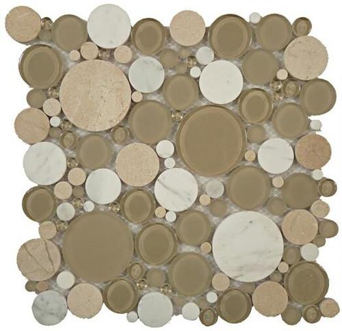 Bella Glass Tiles Bubble Series Random Circles Olivine