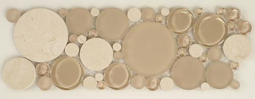 Bella Glass Tiles Bubble Series Random Circles Sable Brown Listello
