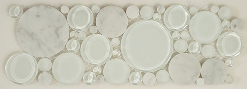 Bella Glass Tiles Bubble Series Random Circles White Dove Listello
