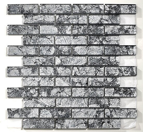 Bella Glass Tiles Galaxie Series 1 x 3 Mosaic Silver Crest