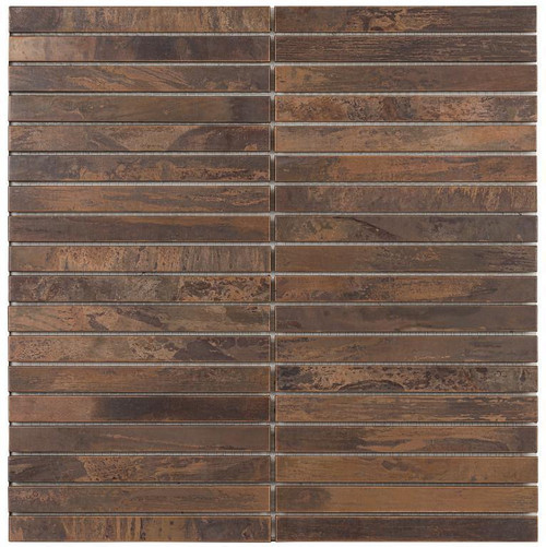 UBC Antique Copper Tile Backsplash 5/8 x 6 Mosaic