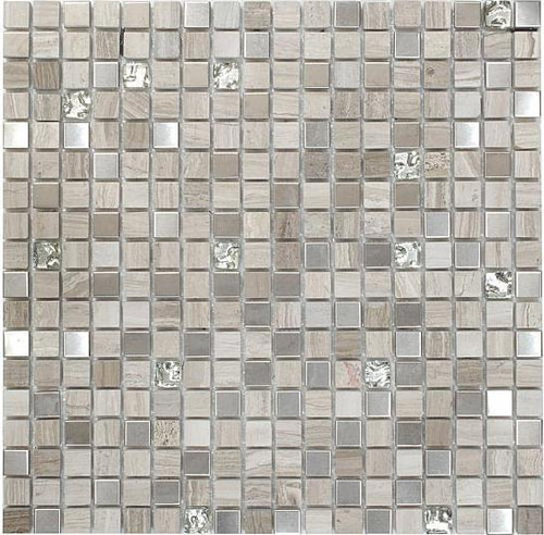 Bella Glass Tiles Opulence 5/8 x 5/8 Mosaic Series White Sand