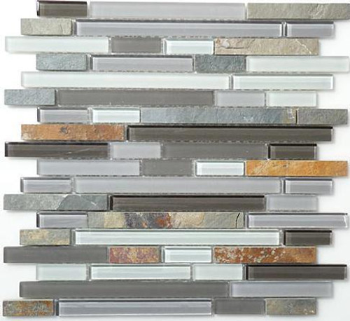 Bella Glass Tiles Glass and Slate Series Sag Harbor Gray Random Brick