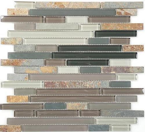 Bella Glass Tiles Glass and Slate Series Northampton Putty Random Brick