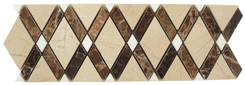 Bella Glass Tiles Diamond Series Marble Tile Listello Crema Marfil Emperador Dark Thassos White