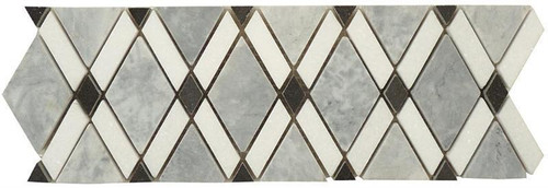 Bella Glass Tiles Diamond Series Marble Tile Listello Mugworth Thassos White Basalt