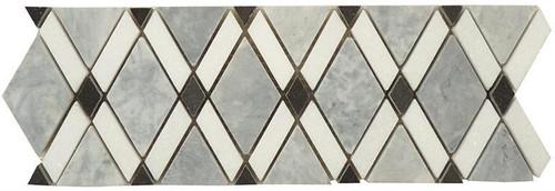 Bella Glass Tiles Diamond Series Marble Tile Listello Mugworth Thassos White Basalt