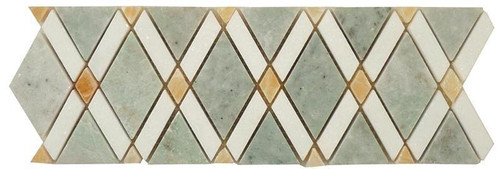 Bella Glass Tiles Diamond Series Marble Tile Listello Ming Green Thassos White Honey Onyx