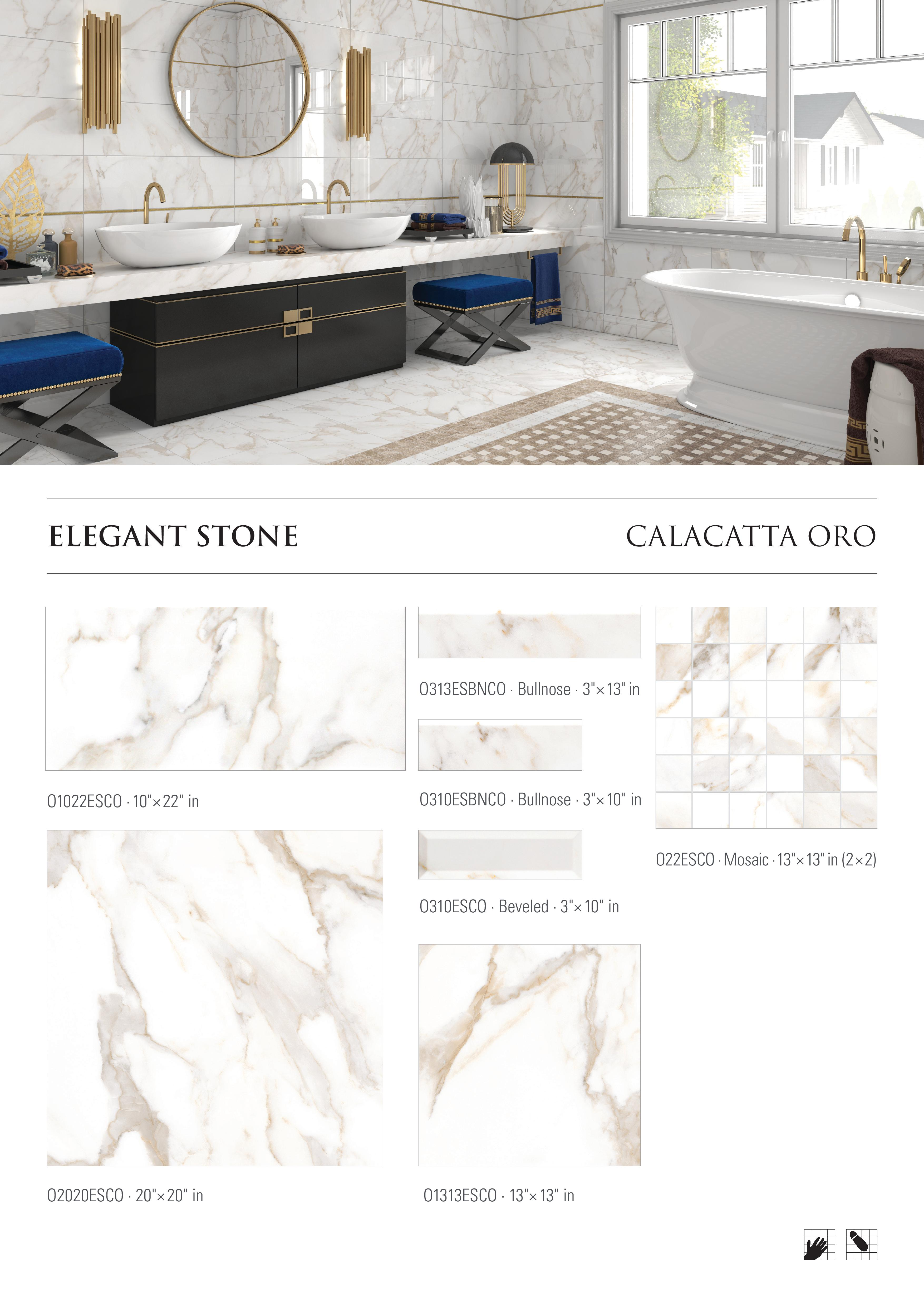Elegant Stone Calacutta Oro Porcelain Tile by Opulenza at belktile.com