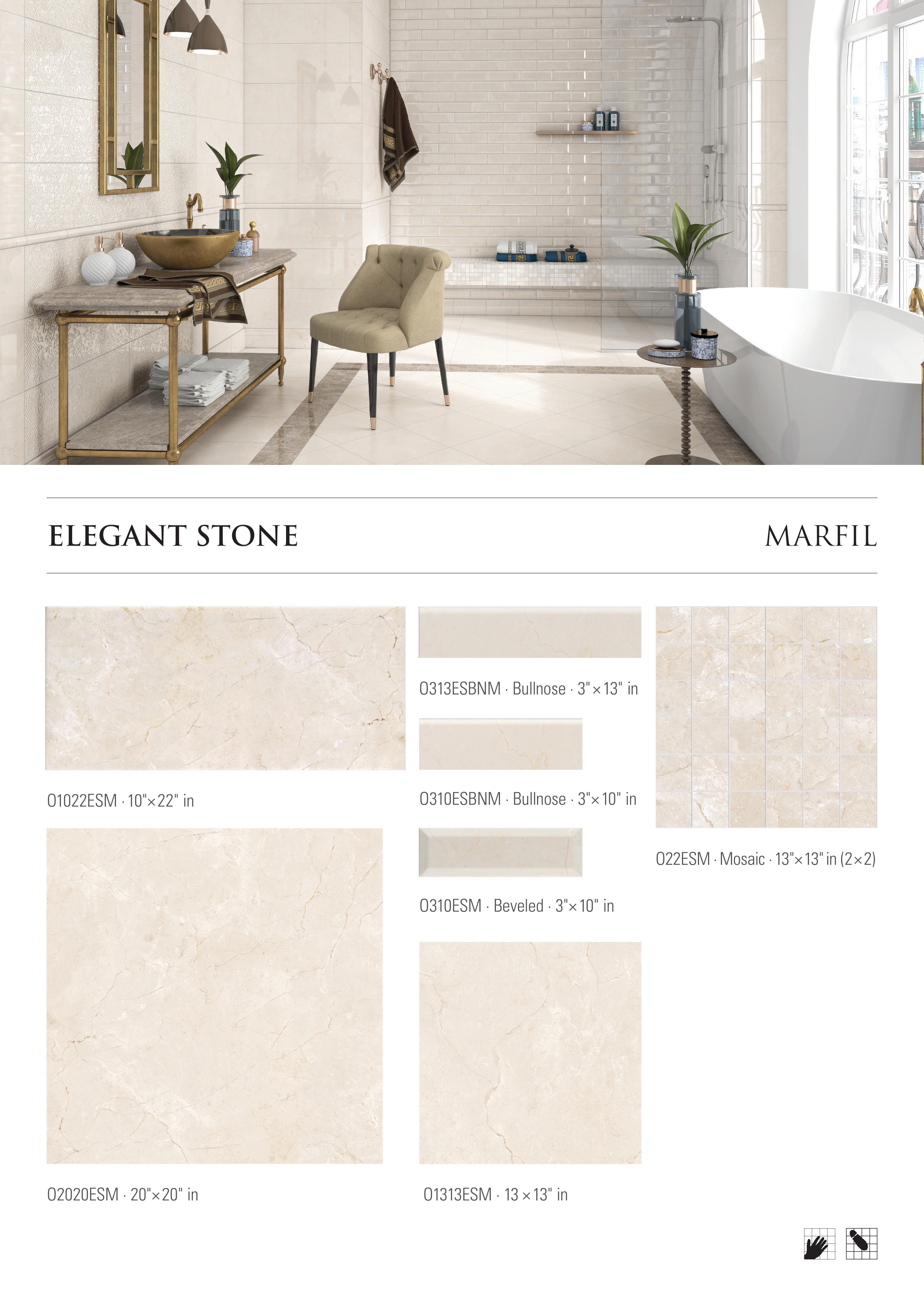 Elegant Stone Marfil Porcelain Tile by Opulenza at belktile.com