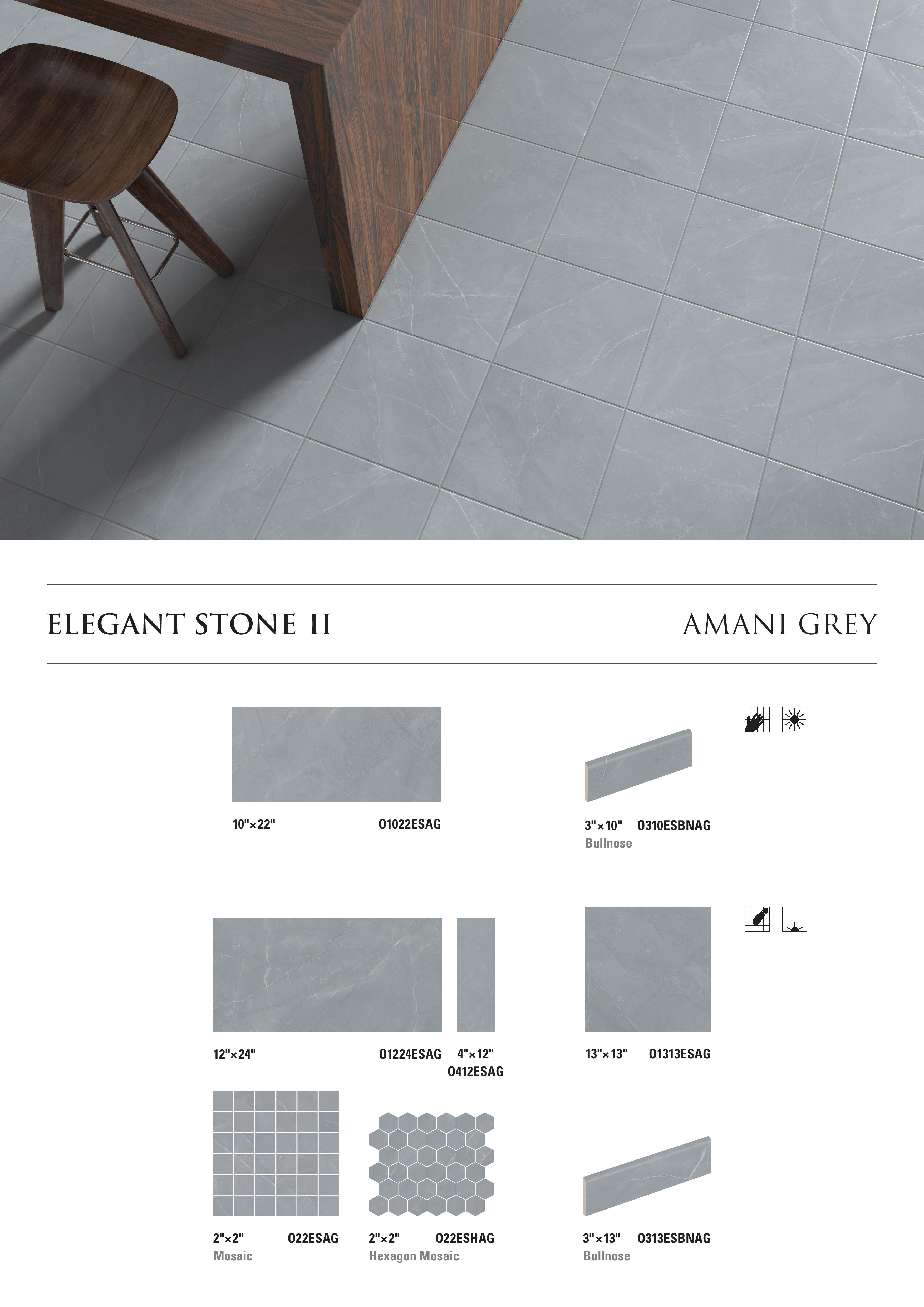 Elegant Stone II Amani Grey by Opulenza at belktile.com