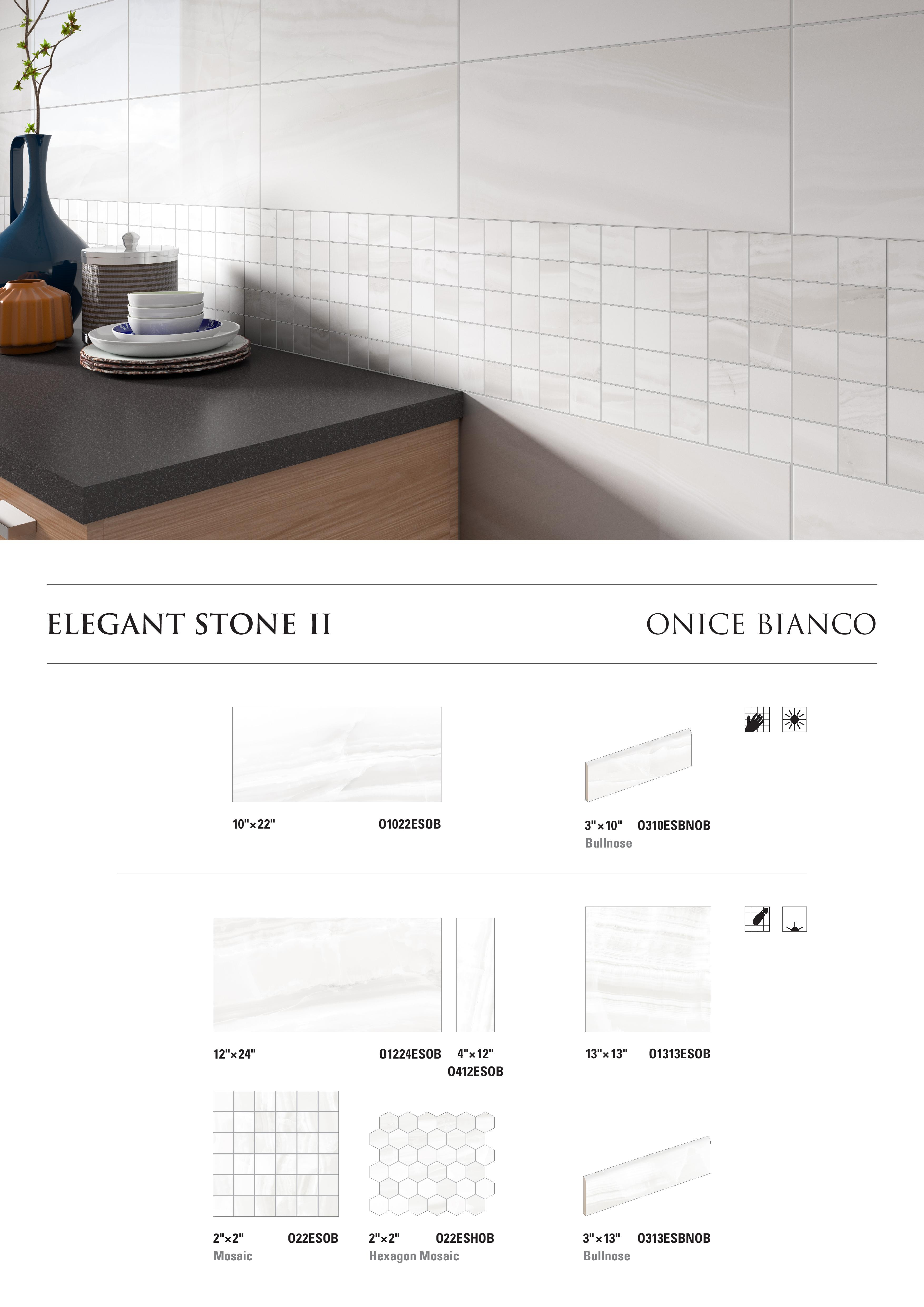 Elegant Stone II Onice Bianco by Opulenza at belktile.com