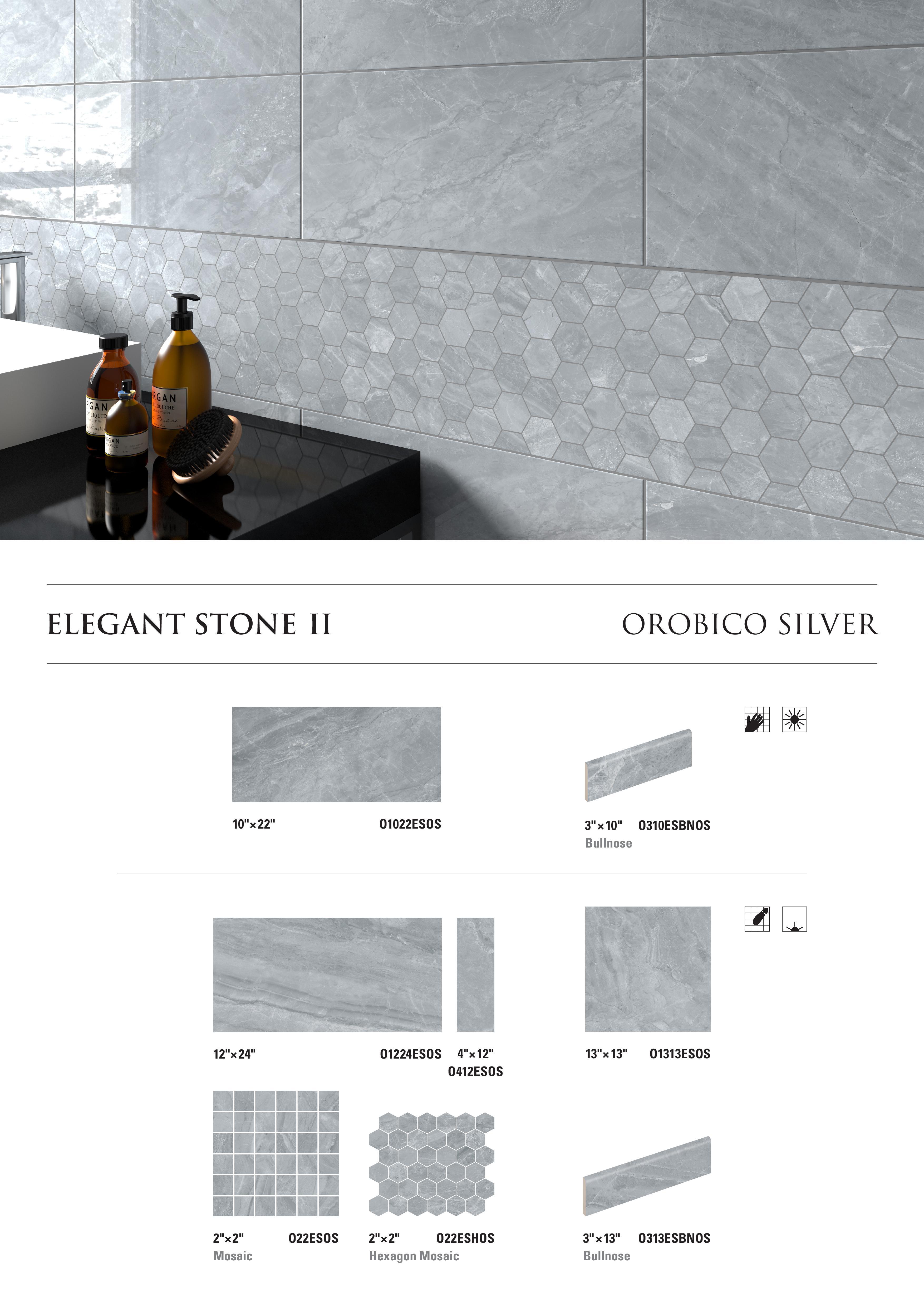 Elegant Stone II Orobico Silver by Opulenza at belktile.com