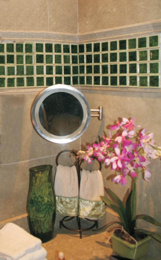 A Glittery Finish With Crackle Glass Tile Backsplash