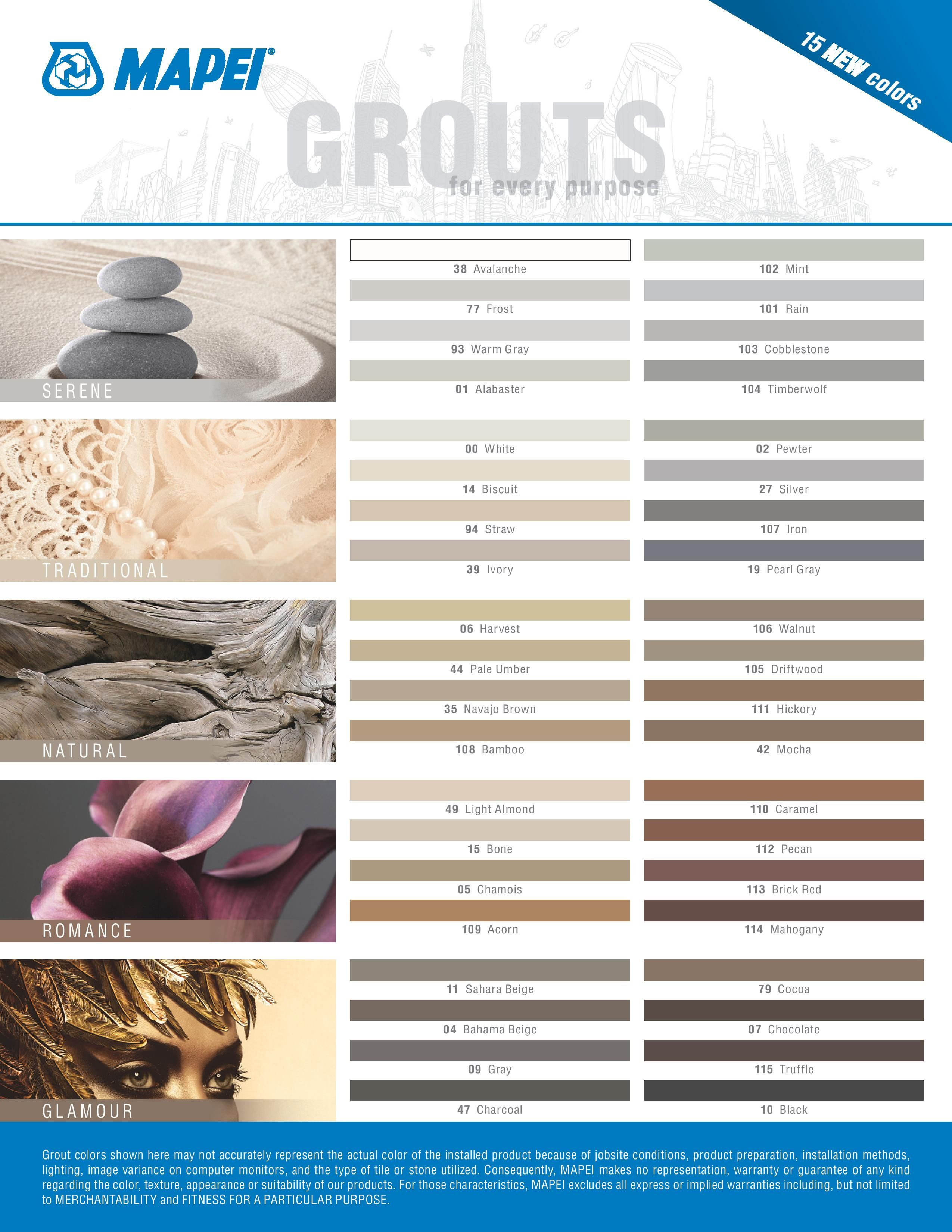Mapei Grout Color Chart available at belktile.com | BELK Tile