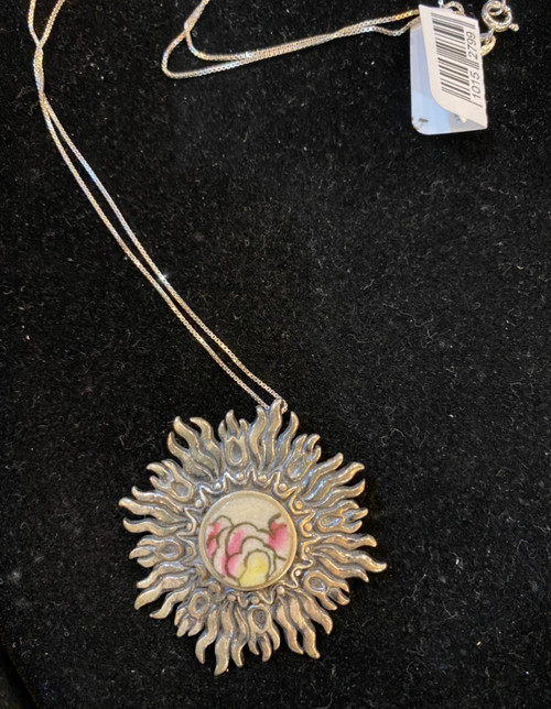 """Pink & yellow """"Chaney"""" silver sun necklace with silver chain."""