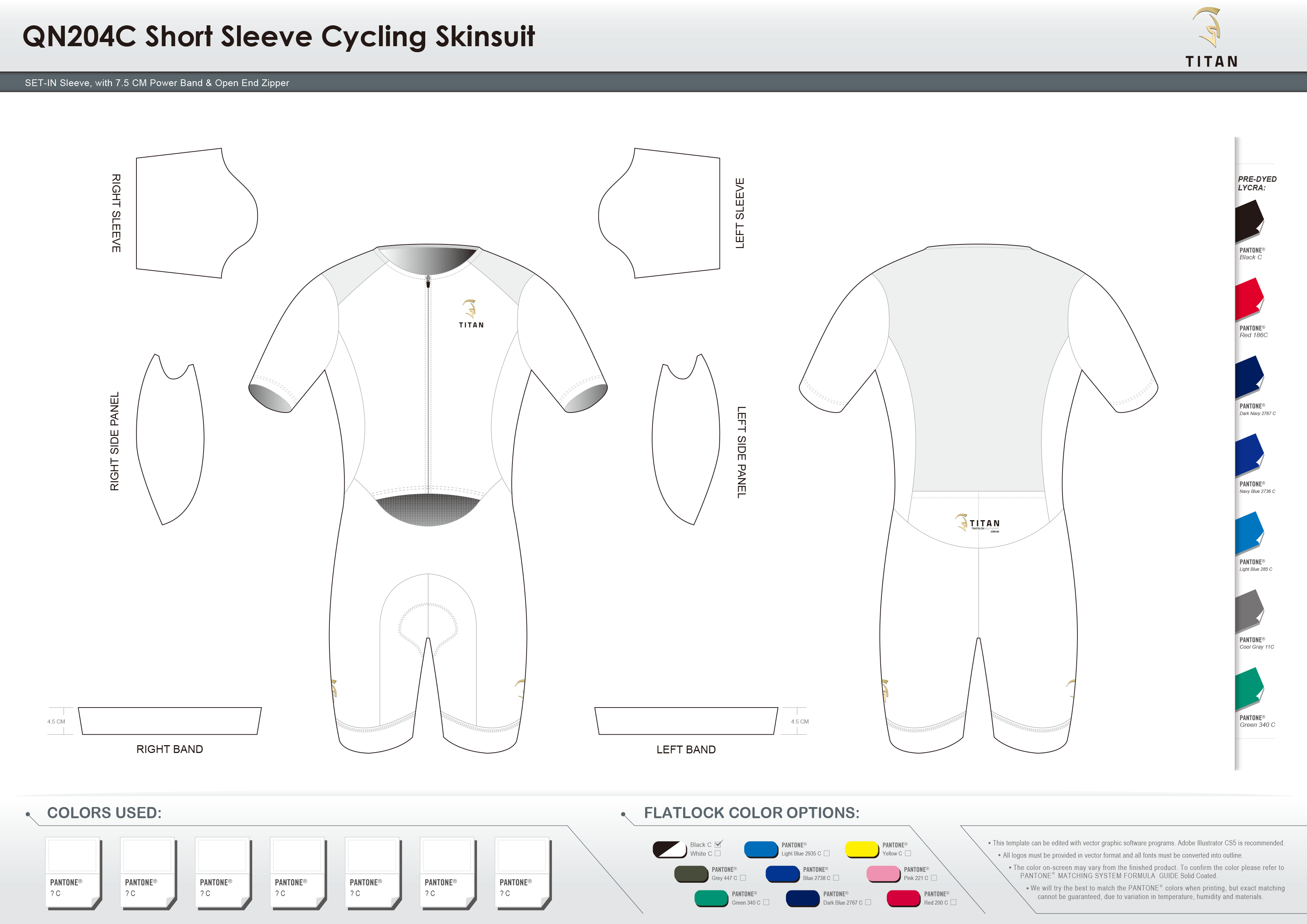 TC118B Short Sleeve Cycling Skinsuit(Fit2Tri Templet)