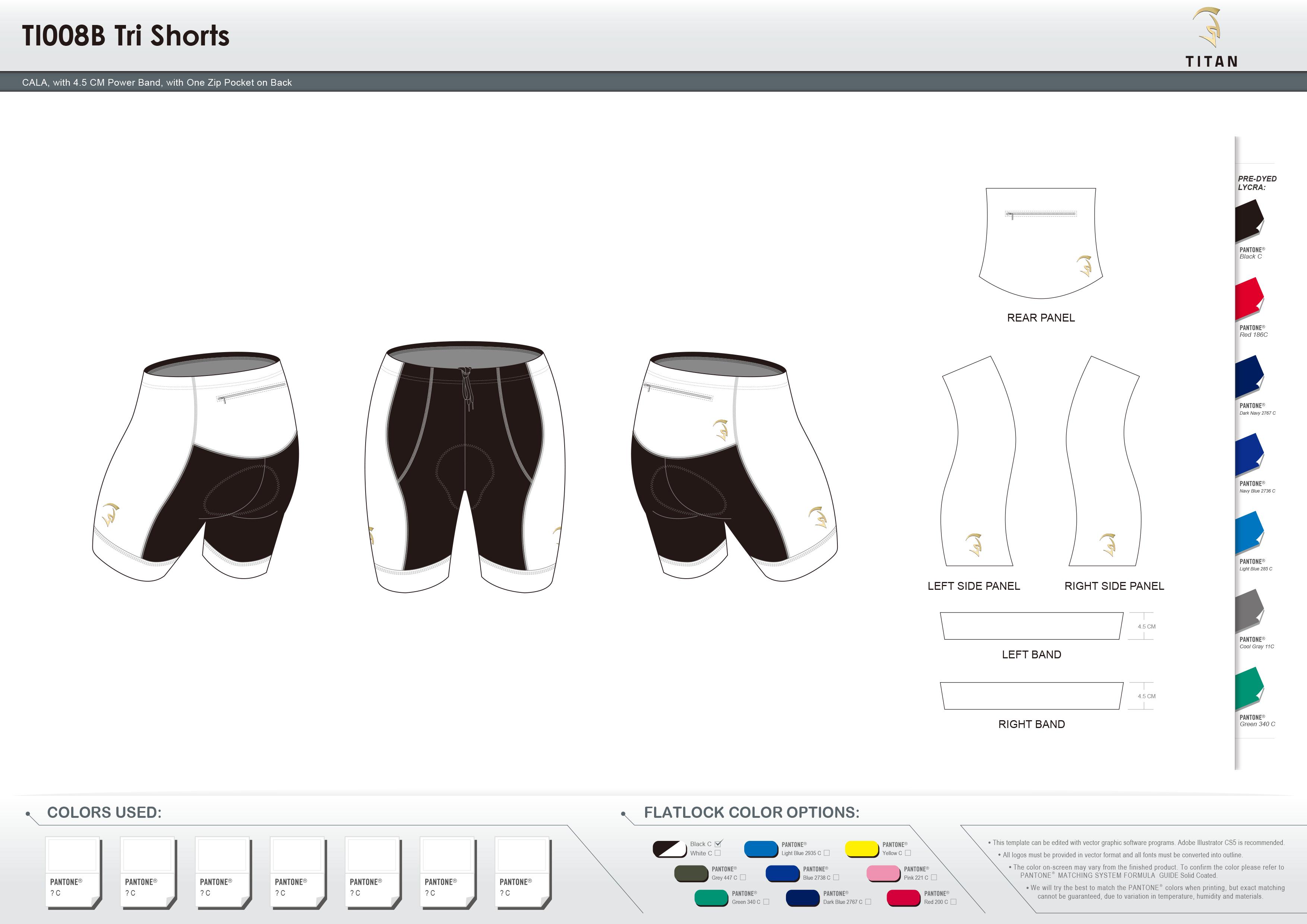 TI008B Tri Shorts with One Rear Zip Pocket