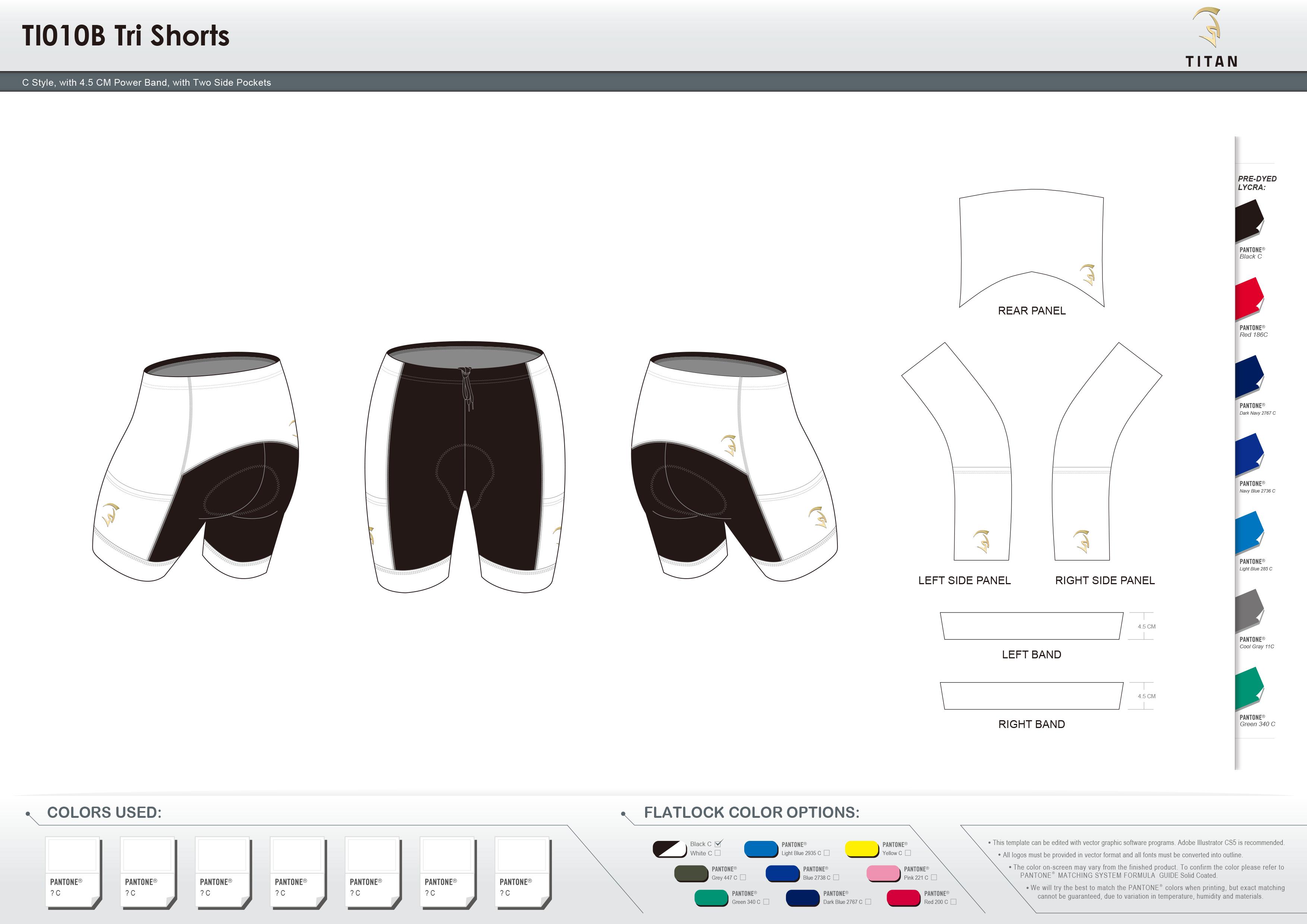 TI010B Tri Shorts with 2 Side Pockets