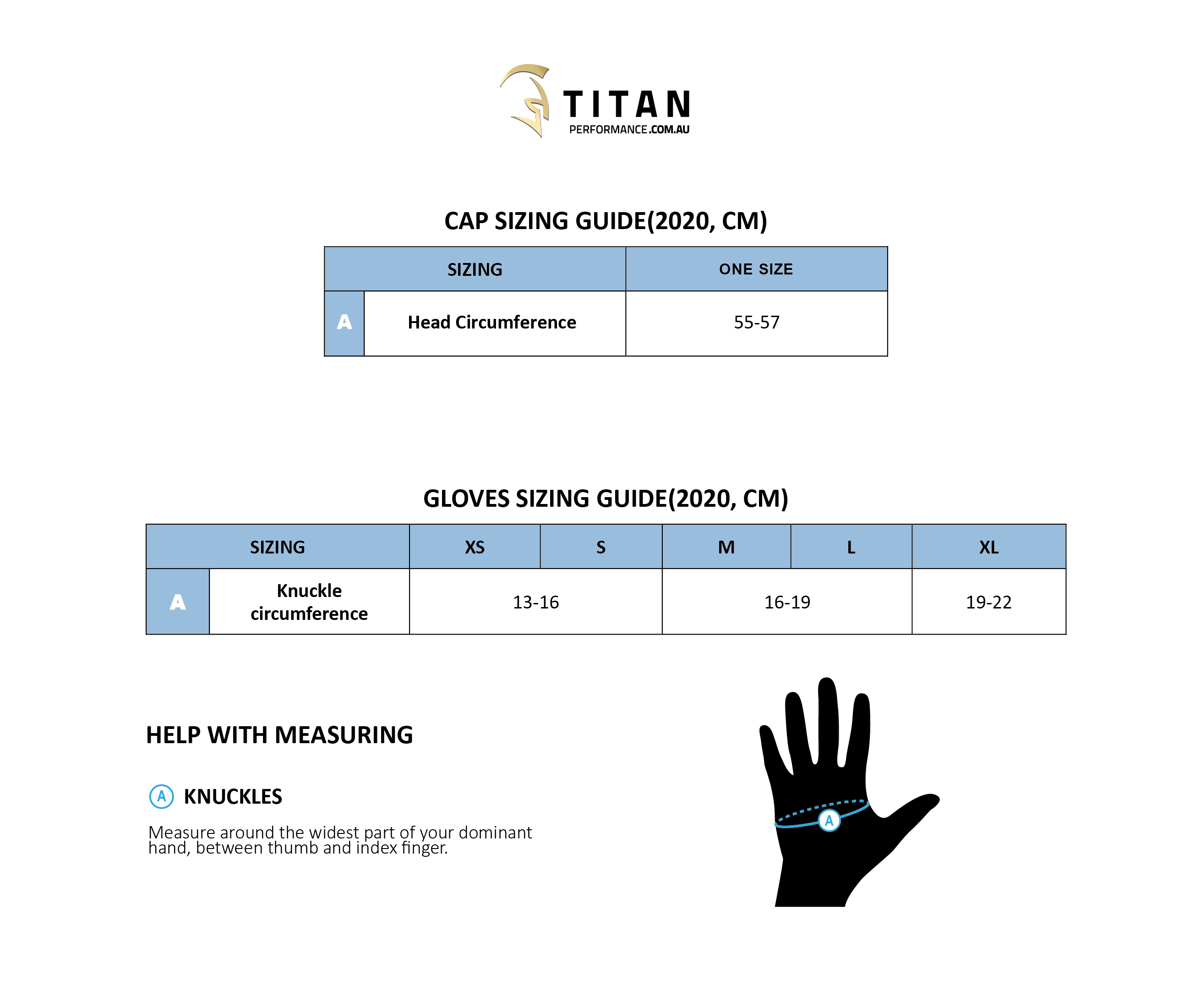 Accessories Sizing Guide