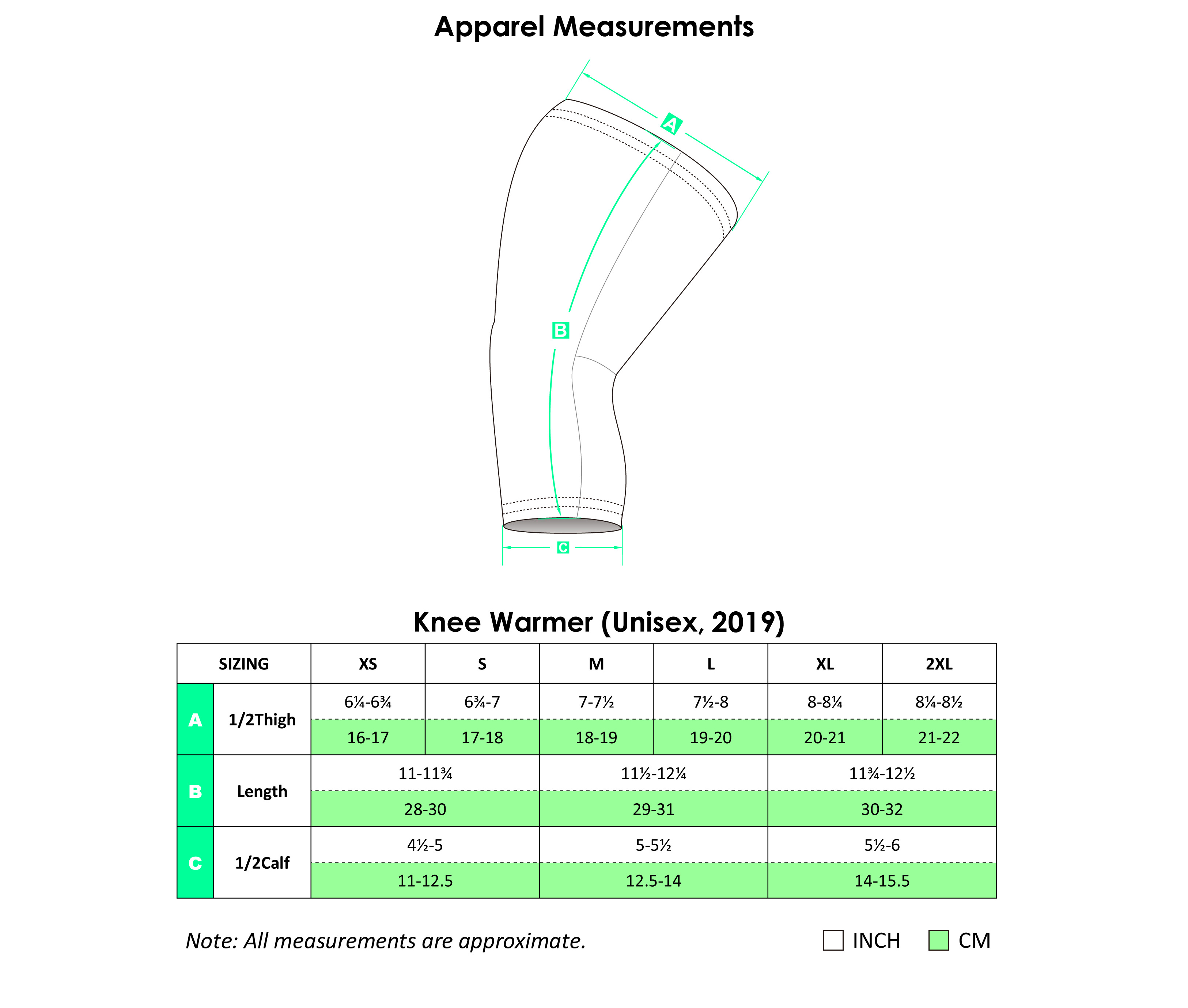 Cycling Knee Warmers Apparel Size Chart