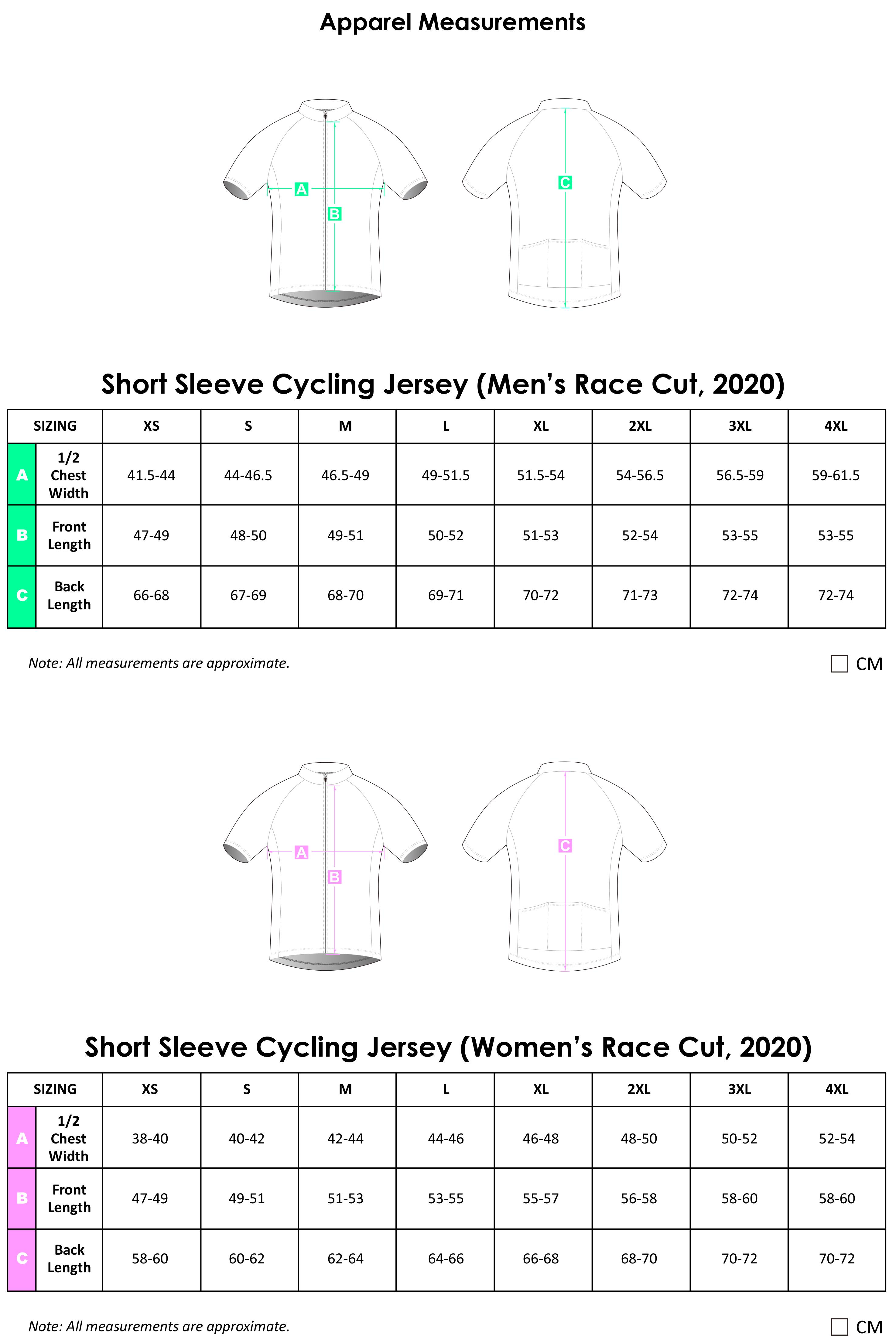 SS Cycling Jersey Apparel Size Chart 2020