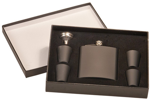 Matte Black Stainless Flask Set w/ Box