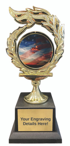 American Flag Flame Trophy