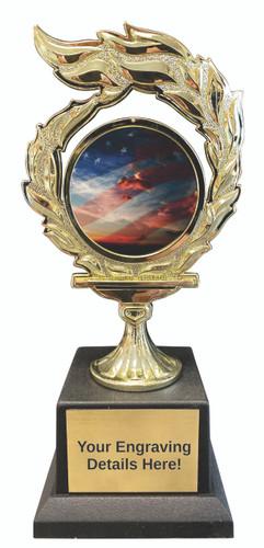 American Flag Flame Trophy