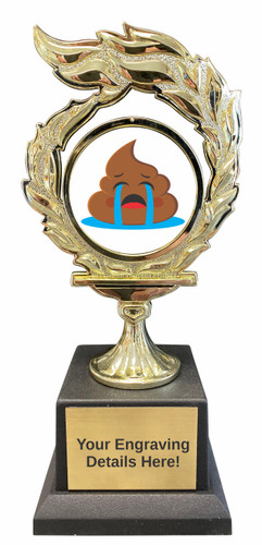 Poop Emoji Flame Trophy