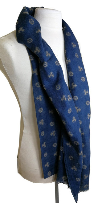 'Wisp' Blue Patterned Classic Wool Scarf