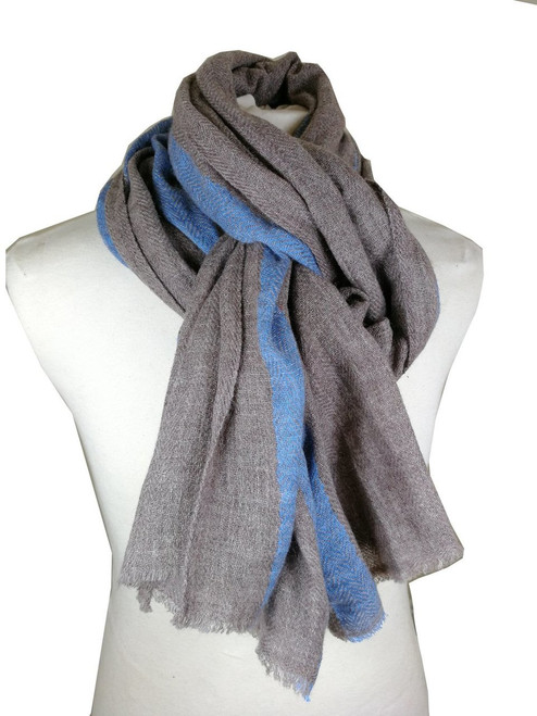 'Spinney' Grey & Blue Wool Cashmere Scarf