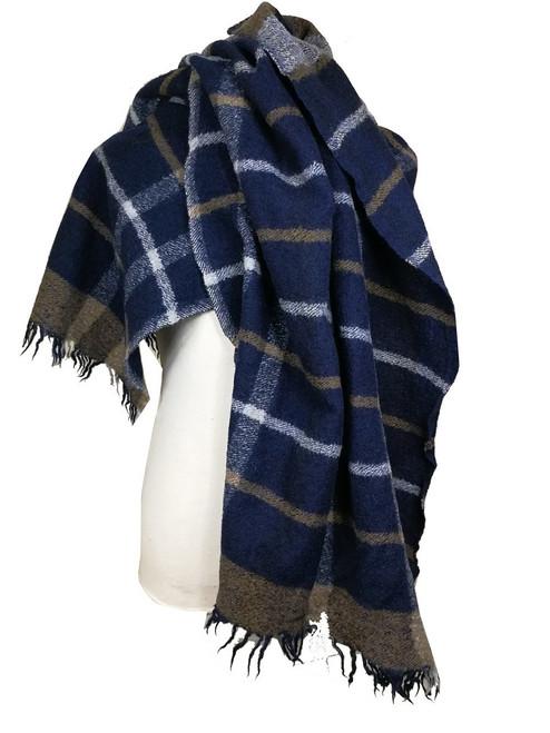 'Jamaica Inn' Blue Check Wool Shawl