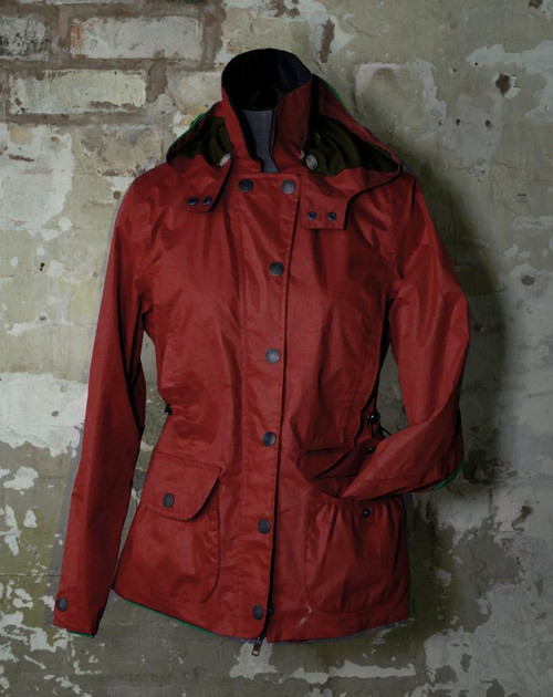 Womens M (12) 'Lamia' Red Waterproof Dry Waxed Jacket was £369