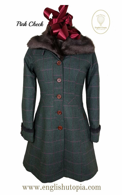 Womens 'Emily' Knee Length Wool Tweed Coat