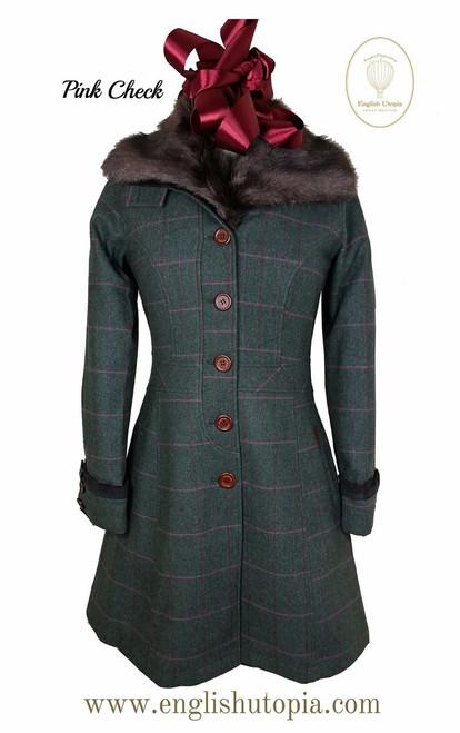 Womens 'Emily' Knee Length Wool Tweed Coat