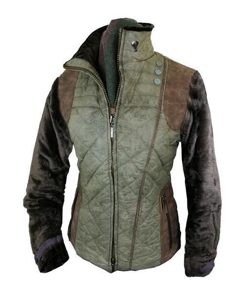 Womens 'Libertine' Green Faux Fur Quilt Jacket
