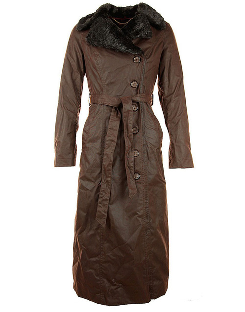 Womens 'Rosetti' Full Length Waxed Coat Faux Fur lined